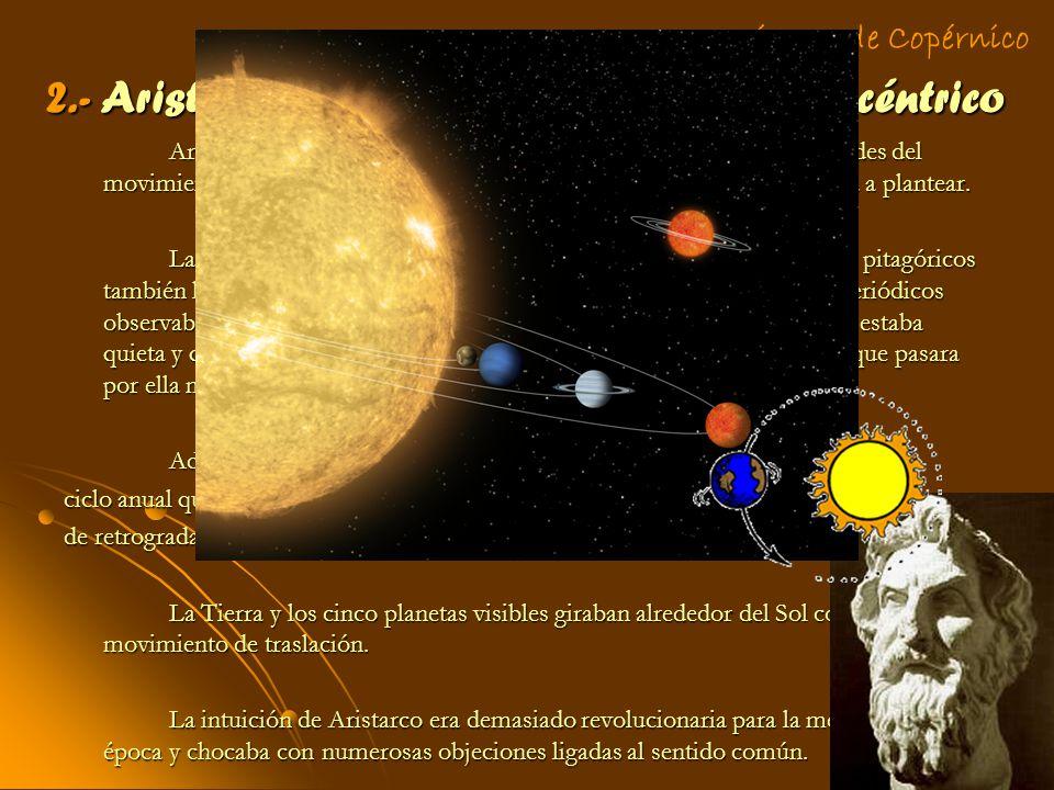 2.- Aristarco: precursor del modelo heliocéntrico Aristarco explica, mediante el sistema heliocéntrico, las irregularidades del movimiento de los plan