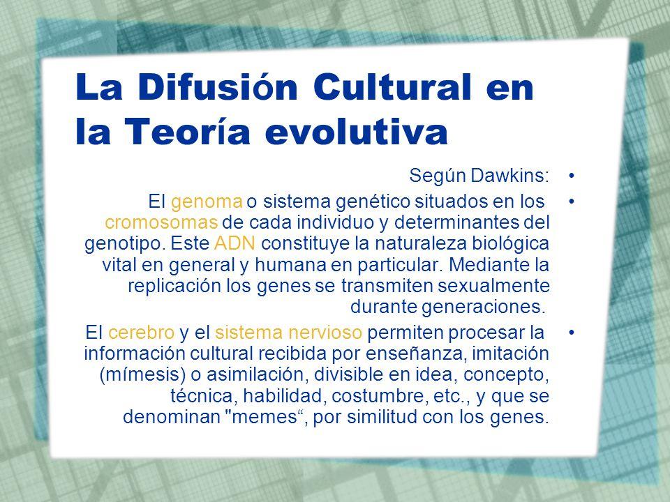 La Difusi ó n Cultural en la Teor í a evolutiva Según Dawkins: El genoma o sistema genético situados en los cromosomas de cada individuo y determinant