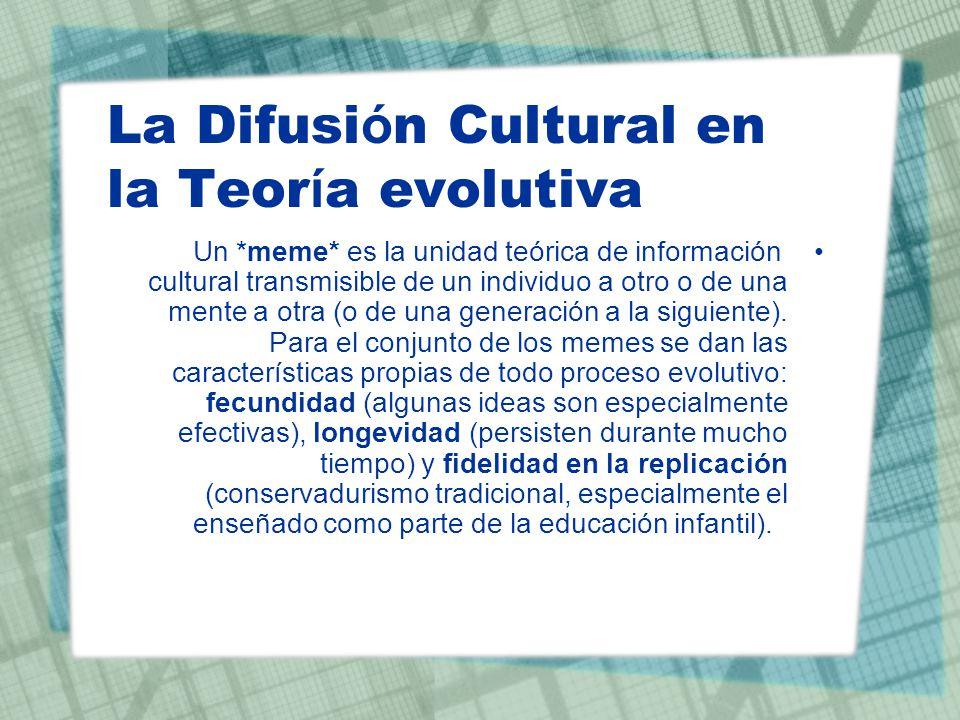 La Difusi ó n Cultural en la Teor í a evolutiva Un *meme* es la unidad teórica de información cultural transmisible de un individuo a otro o de una me
