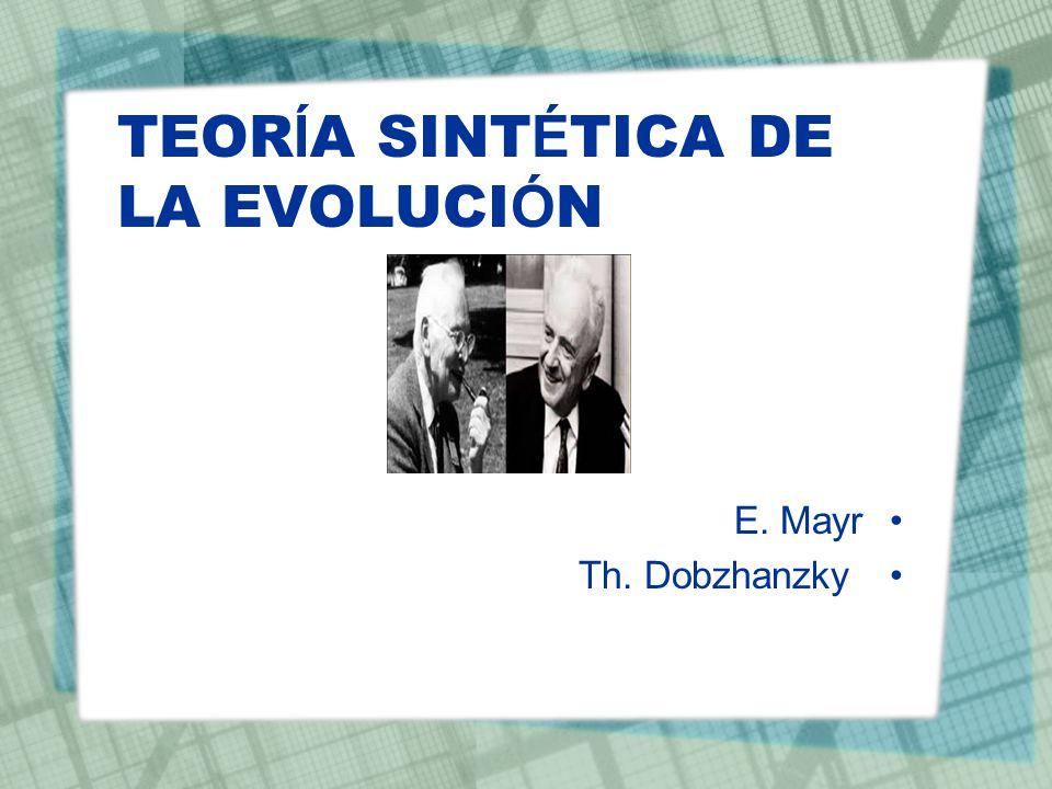 TEOR Í A SINT É TICA DE LA EVOLUCI Ó N E. Mayr Th. Dobzhanzky