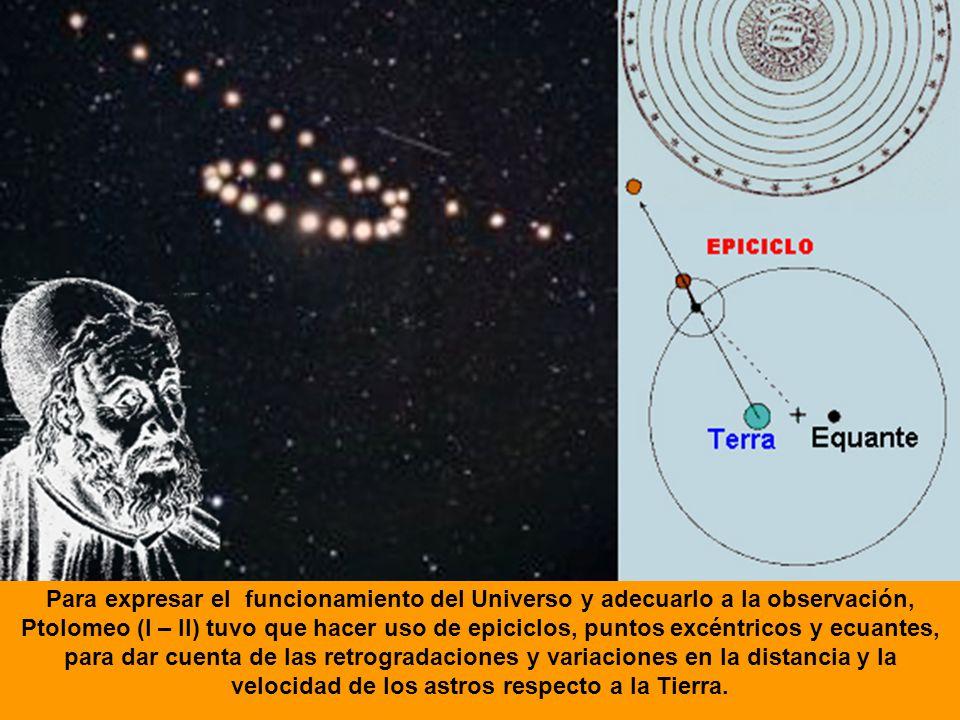 Para expresar el funcionamiento del Universo y adecuarlo a la observación, Ptolomeo (I – II) tuvo que hacer uso de epiciclos, puntos excéntricos y ecu