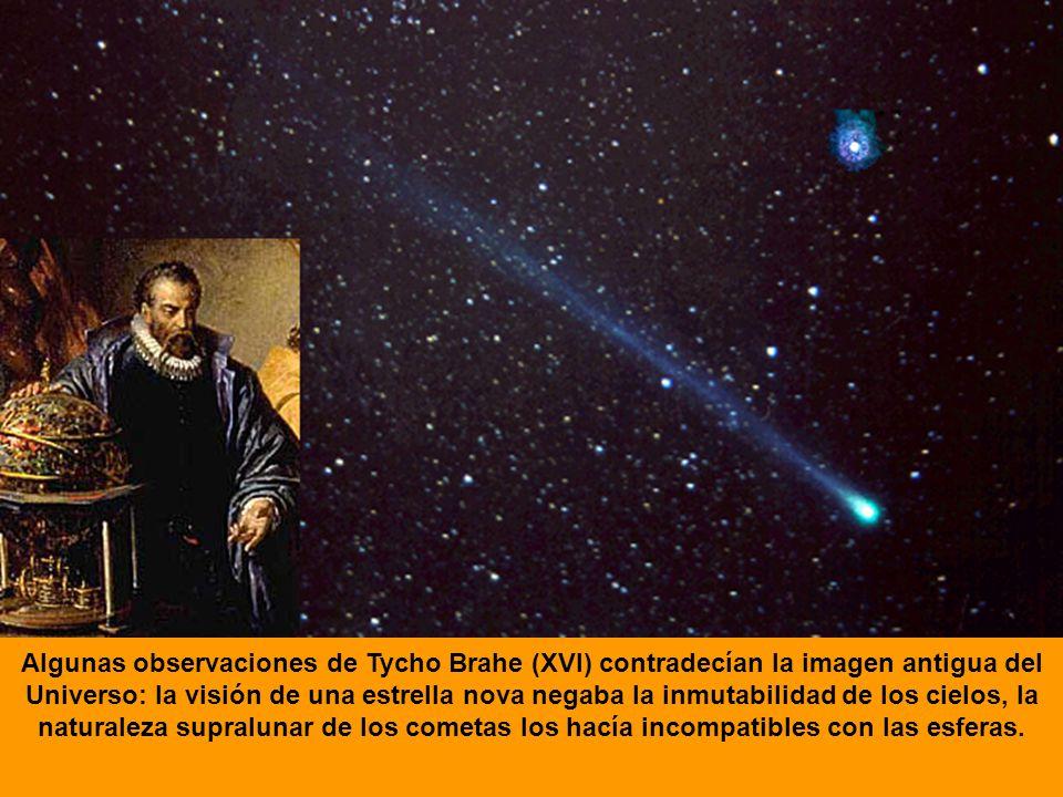 Algunas observaciones de Tycho Brahe (XVI) contradecían la imagen antigua del Universo: la visión de una estrella nova negaba la inmutabilidad de los