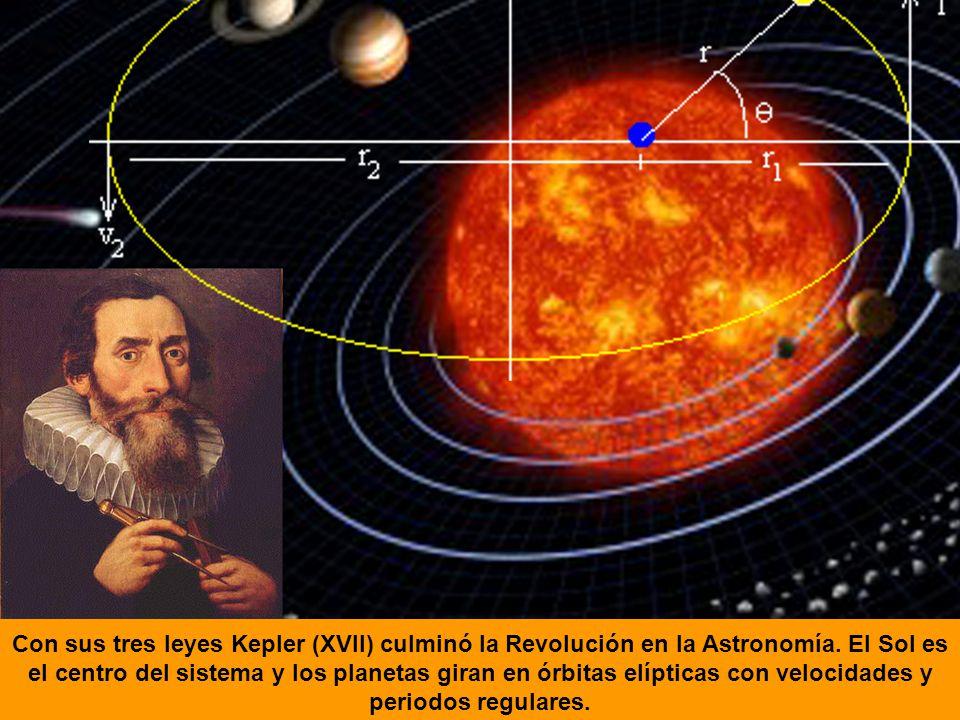 Con sus tres leyes Kepler (XVII) culminó la Revolución en la Astronomía. El Sol es el centro del sistema y los planetas giran en órbitas elípticas con
