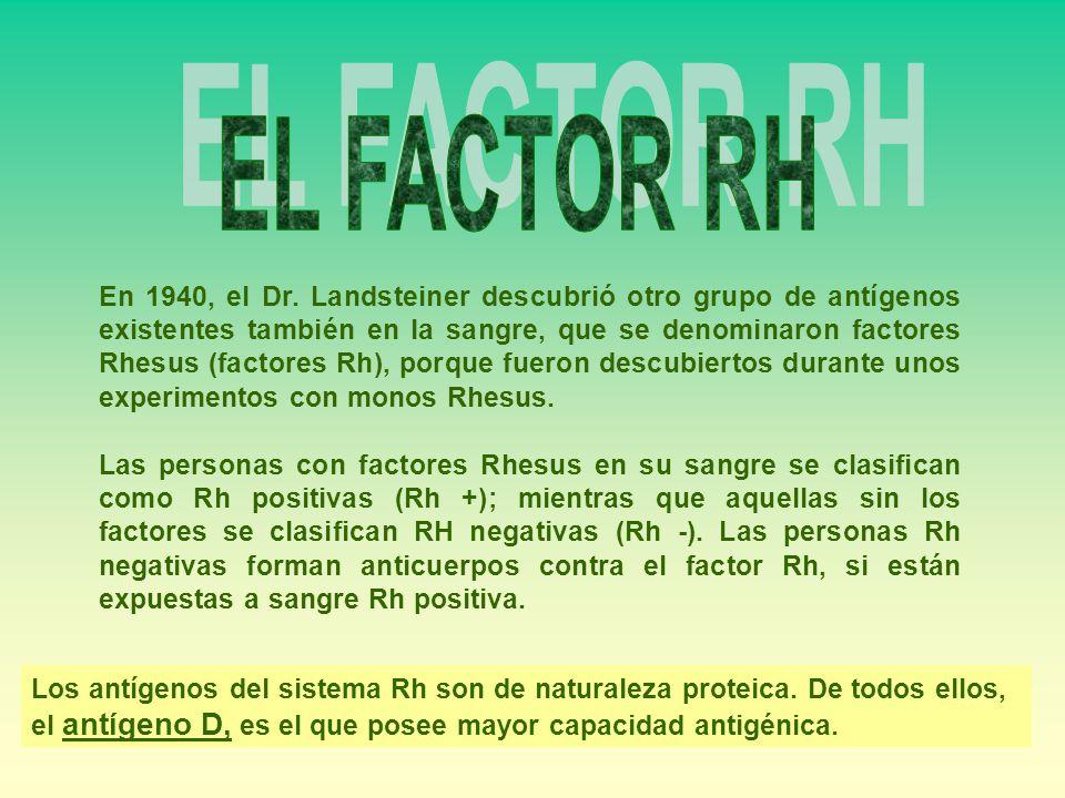 En 1940, el Dr. Landsteiner descubrió otro grupo de antígenos existentes también en la sangre, que se denominaron factores Rhesus (factores Rh), porqu