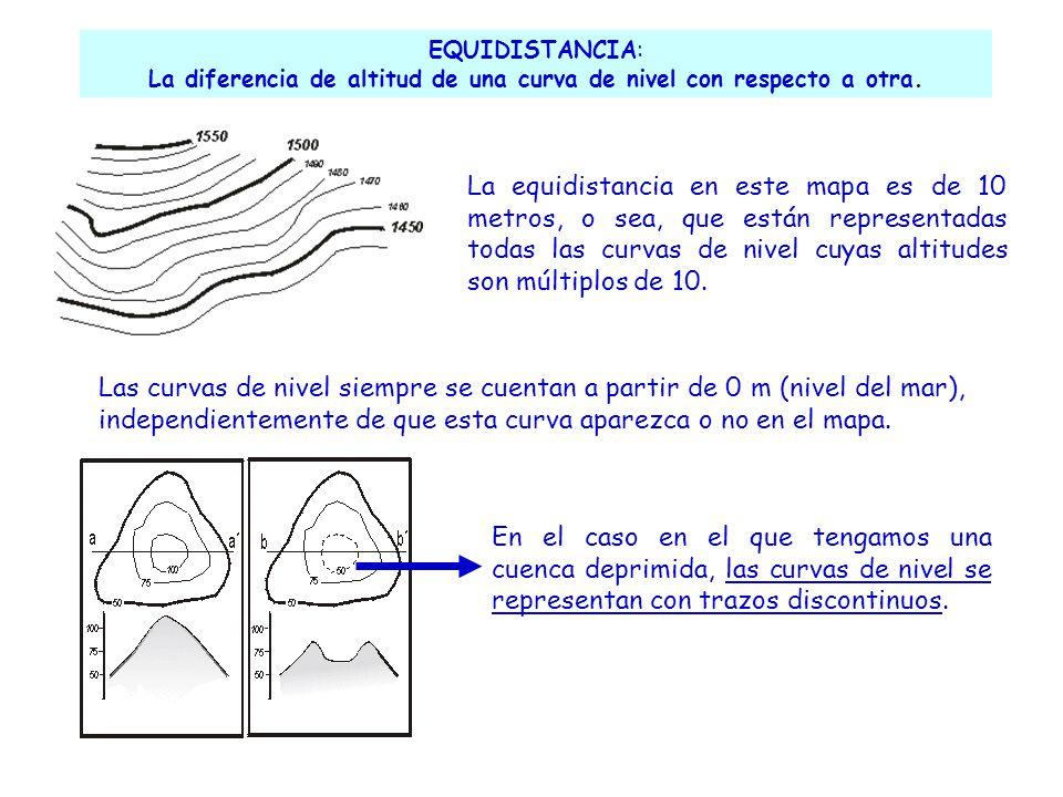 EQUIDISTANCIA: La diferencia de altitud de una curva de nivel con respecto a otra. La equidistancia en este mapa es de 10 metros, o sea, que están rep