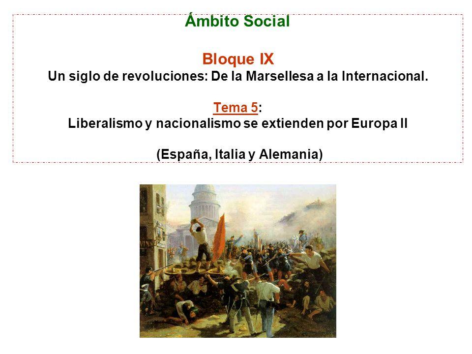 Ámbito Social Bloque IX Un siglo de revoluciones: De la Marsellesa a la Internacional. Tema 5: Liberalismo y nacionalismo se extienden por Europa II (