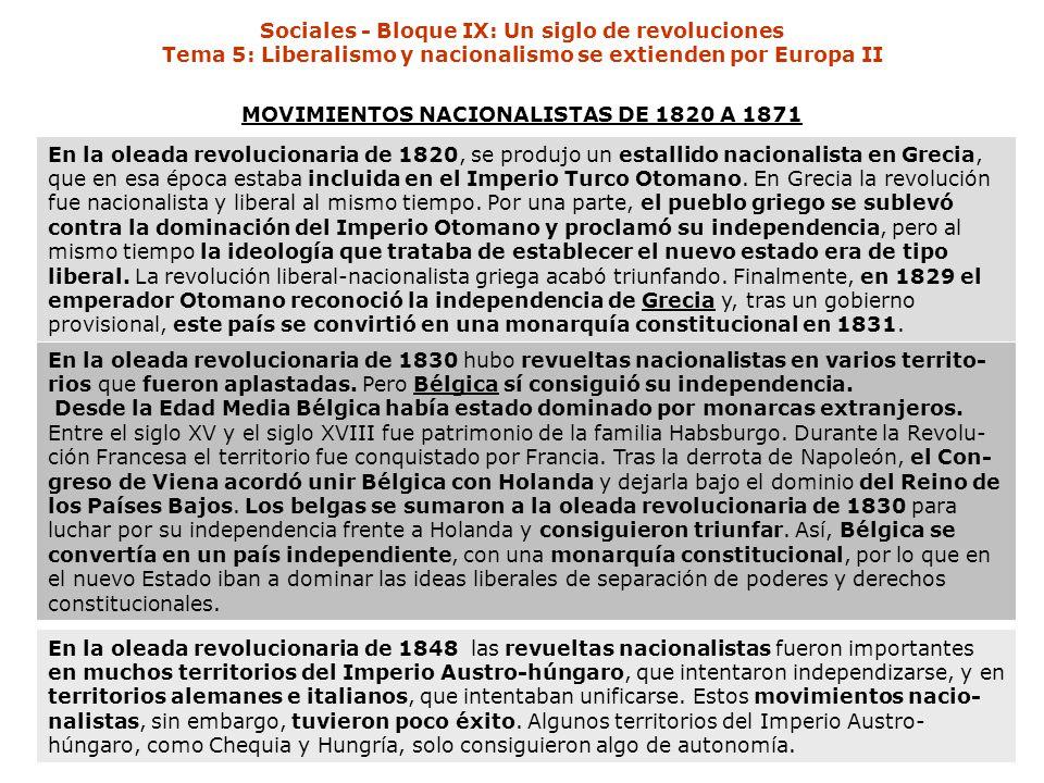MOVIMIENTOS NACIONALISTAS DE 1820 A 1871 En la oleada revolucionaria de 1820, se produjo un estallido nacionalista en Grecia, que en esa época estaba incluida en el Imperio Turco Otomano.
