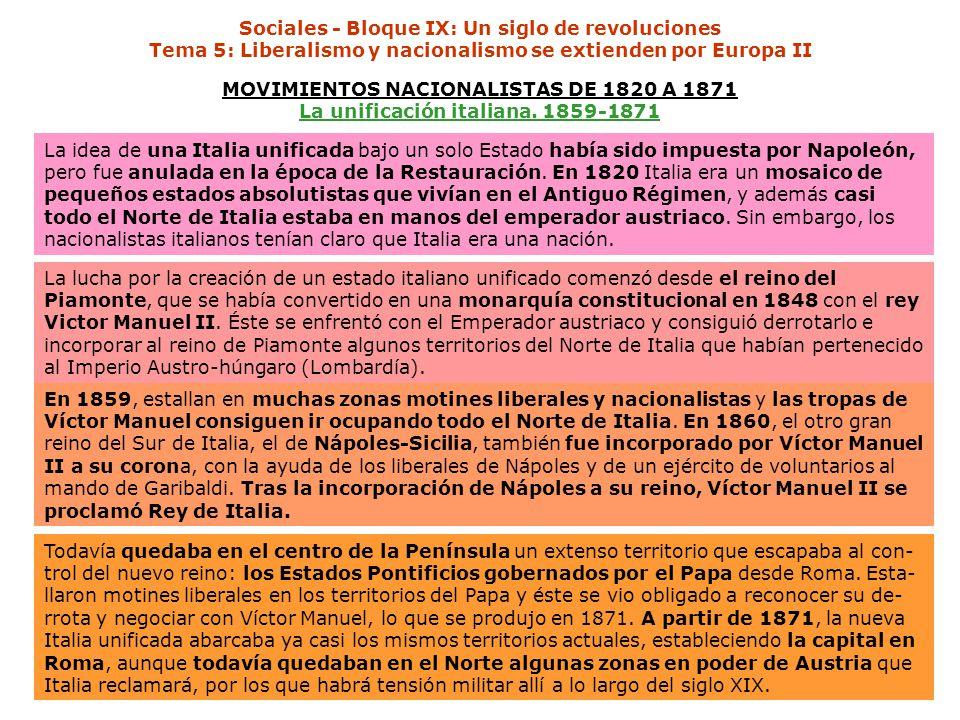 Sociales - Bloque IX: Un siglo de revoluciones Tema 5: Liberalismo y nacionalismo se extienden por Europa II MOVIMIENTOS NACIONALISTAS DE 1820 A 1871 La unificación italiana.