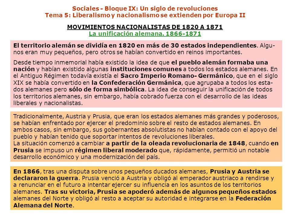 MOVIMIENTOS NACIONALISTAS DE 1820 A 1871 La unificación alemana. 1866-1871 El territorio alemán se dividía en 1820 en más de 30 estados independientes