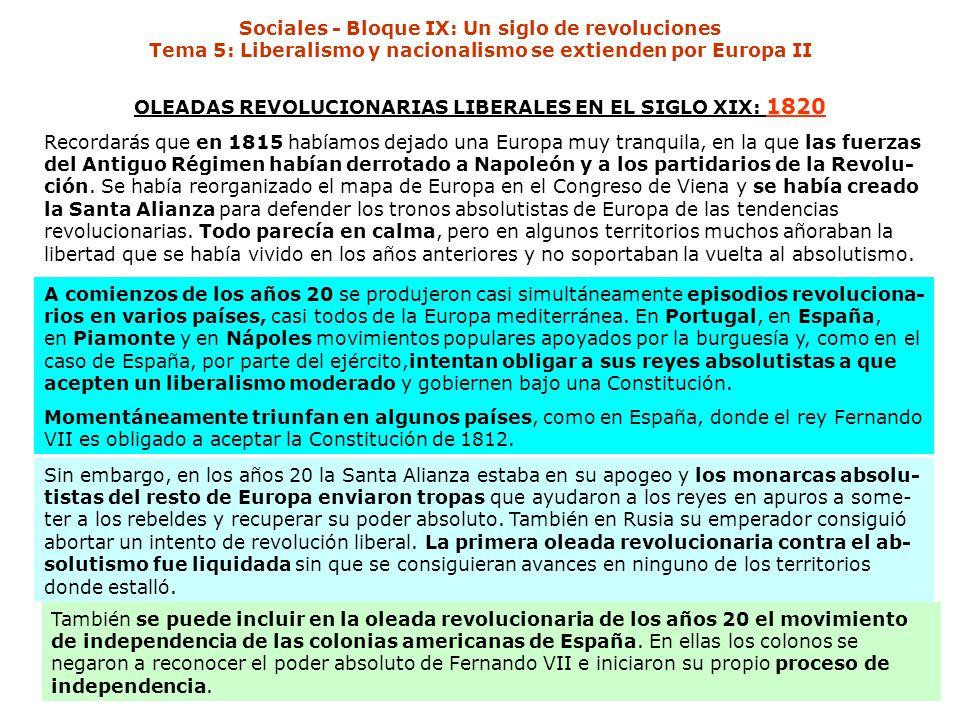 Sociales - Bloque IX: Un siglo de revoluciones Tema 5: Liberalismo y nacionalismo se extienden por Europa II OLEADAS REVOLUCIONARIAS LIBERALES EN EL SIGLO XIX: 1820 Recordarás que en 1815 habíamos dejado una Europa muy tranquila, en la que las fuerzas del Antiguo Régimen habían derrotado a Napoleón y a los partidarios de la Revolu- ción.