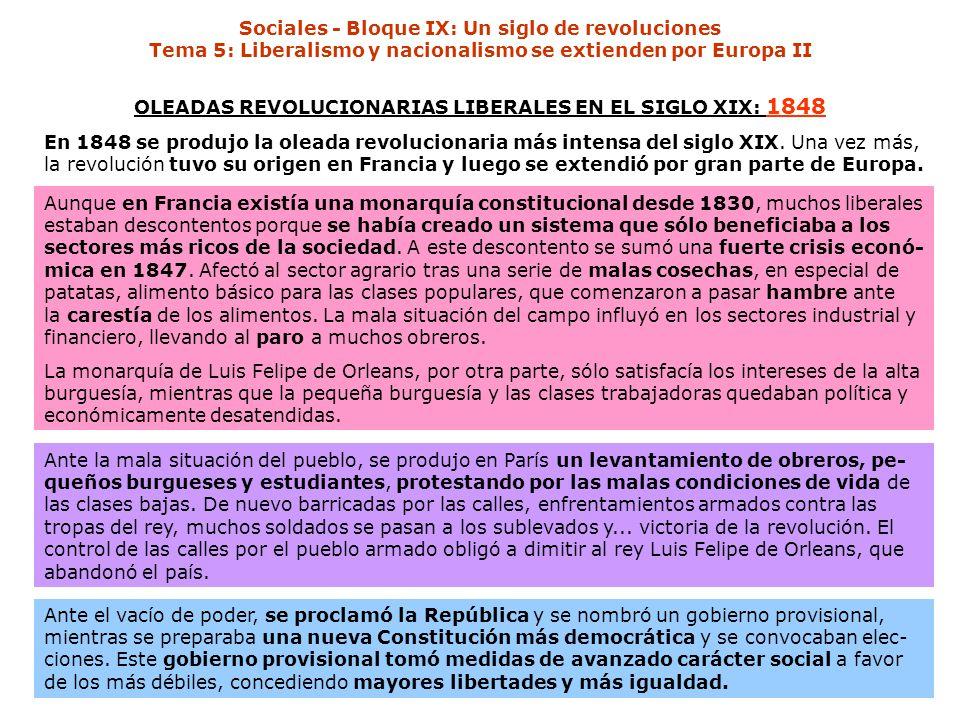 OLEADAS REVOLUCIONARIAS LIBERALES EN EL SIGLO XIX: 1848 En 1848 se produjo la oleada revolucionaria más intensa del siglo XIX. Una vez más, la revoluc