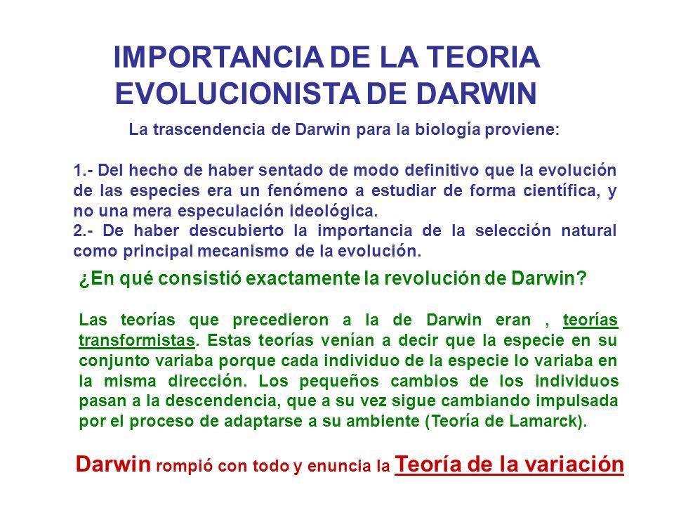 IMPORTANCIA DE LA TEORIA EVOLUCIONISTA DE DARWIN La trascendencia de Darwin para la biología proviene: 1.- Del hecho de haber sentado de modo definiti