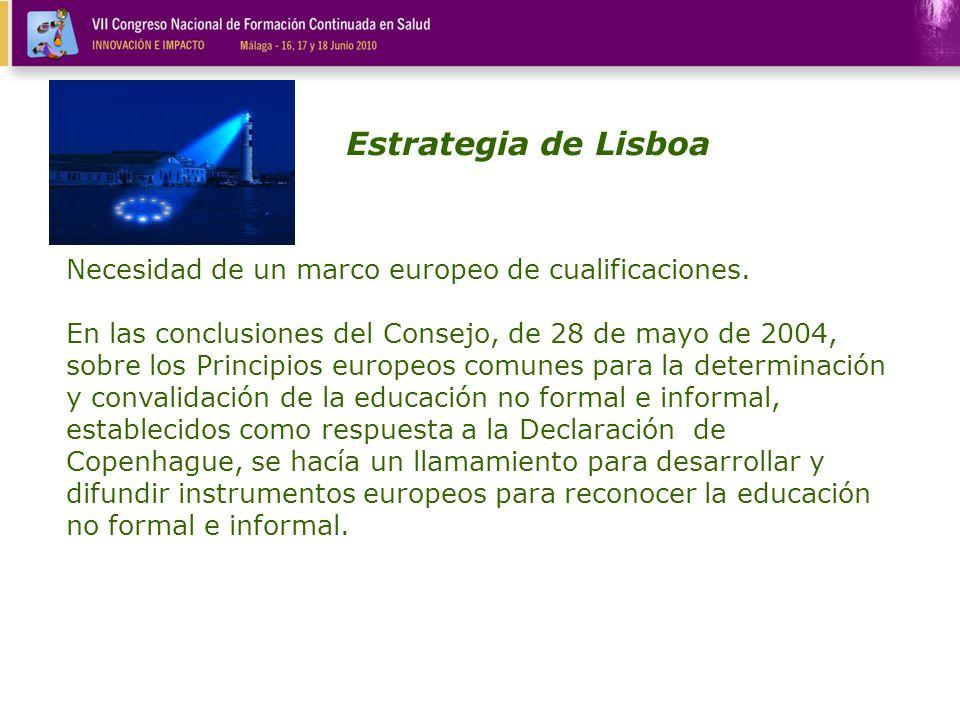 Necesidad de un marco europeo de cualificaciones. En las conclusiones del Consejo, de 28 de mayo de 2004, sobre los Principios europeos comunes para l
