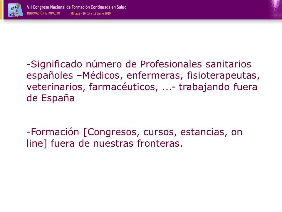 -Significado número de Profesionales sanitarios españoles –Médicos, enfermeras, fisioterapeutas, veterinarios, farmacéuticos,...- trabajando fuera de