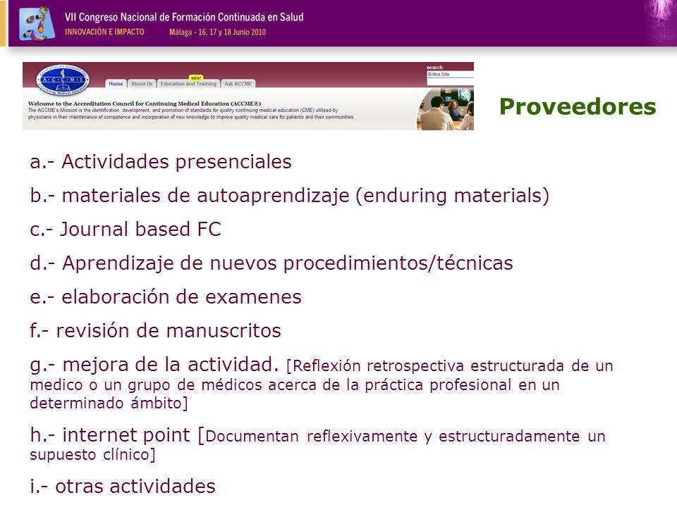a.- Actividades presenciales b.- materiales de autoaprendizaje (enduring materials) c.- Journal based FC d.- Aprendizaje de nuevos procedimientos/técn