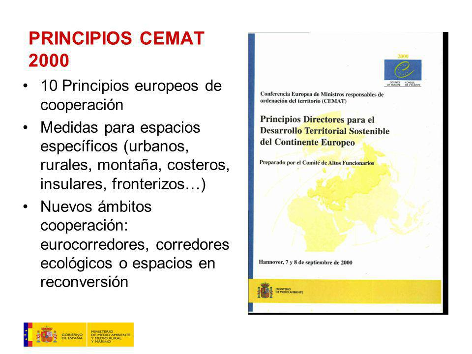 PRINCIPIOS CEMAT 2000 10 Principios europeos de cooperación Medidas para espacios específicos (urbanos, rurales, montaña, costeros, insulares, fronterizos…) Nuevos ámbitos cooperación: eurocorredores, corredores ecológicos o espacios en reconversión