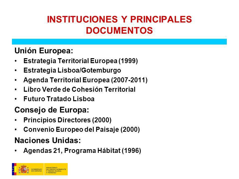 INSTITUCIONES Y PRINCIPALES DOCUMENTOS Unión Europea: Estrategia Territorial Europea (1999) Estrategia Lisboa/Gotemburgo Agenda Territorial Europea (2007-2011) Libro Verde de Cohesión Territorial Futuro Tratado Lisboa Consejo de Europa: Principios Directores (2000) Convenio Europeo del Paisaje (2000) Naciones Unidas: Agendas 21, Programa Hábitat (1996)