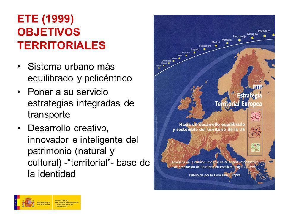 ETE (1999) OBJETIVOS TERRITORIALES Sistema urbano más equilibrado y policéntrico Poner a su servicio estrategias integradas de transporte Desarrollo creativo, innovador e inteligente del patrimonio (natural y cultural) -territorial- base de la identidad