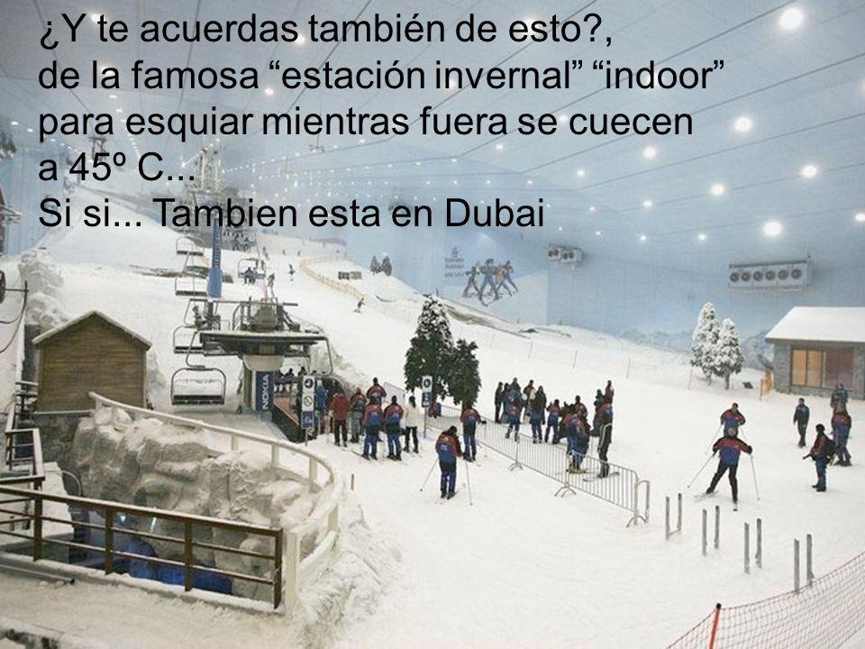 ¿Y te acuerdas también de esto?, de la famosa estación invernal indoor para esquiar mientras fuera se cuecen a 45º C... Si si... Tambien esta en Dubai
