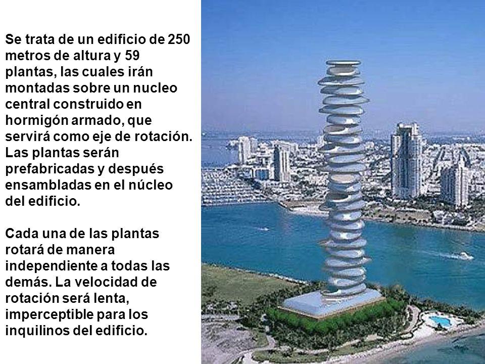 Se trata de un edificio de 250 metros de altura y 59 plantas, las cuales irán montadas sobre un nucleo central construido en hormigón armado, que serv