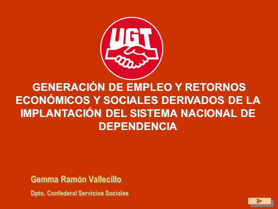 GENERACIÓN DE EMPLEO Y RETORNOS ECONÓMICOS Y SOCIALES DERIVADOS DE LA IMPLANTACIÓN DEL SISTEMA NACIONAL DE DEPENDENCIA Gemma Ramón Vallecillo Dpto. Co