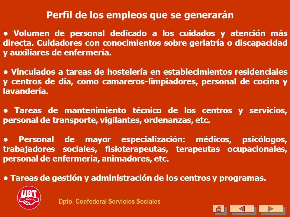Perfil de los empleos que se generarán Volumen de personal dedicado a los cuidados y atención más directa. Cuidadores con conocimientos sobre geriatrí