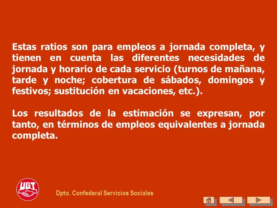 Estas ratios son para empleos a jornada completa, y tienen en cuenta las diferentes necesidades de jornada y horario de cada servicio (turnos de mañan