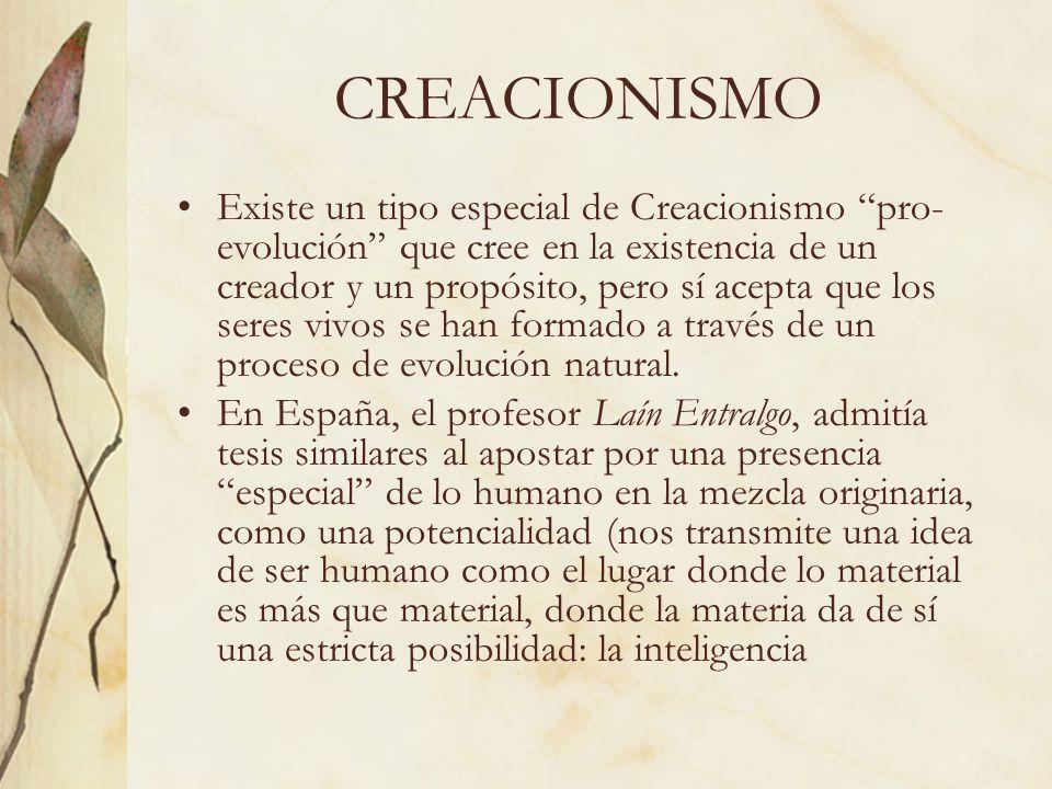 CREACIONISMO Existe un tipo especial de Creacionismo pro- evolución que cree en la existencia de un creador y un propósito, pero sí acepta que los ser