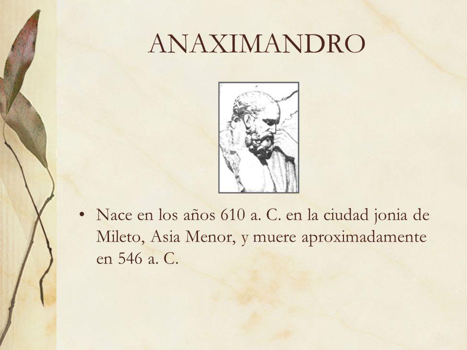 ANAXIMANDRO Nace en los años 610 a. C. en la ciudad jonia de Mileto, Asia Menor, y muere aproximadamente en 546 a. C.