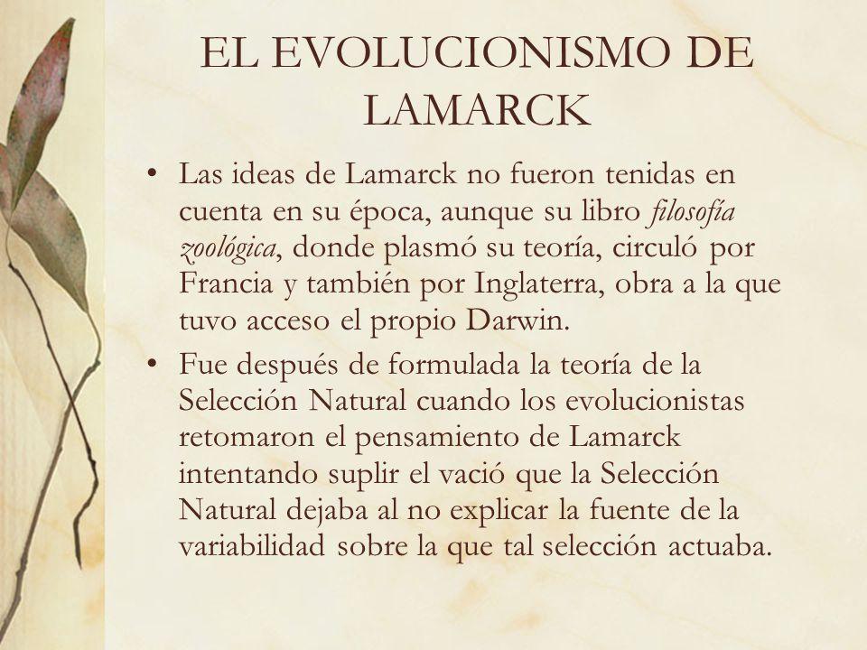Las ideas de Lamarck no fueron tenidas en cuenta en su época, aunque su libro filosofía zoológica, donde plasmó su teoría, circuló por Francia y tambi