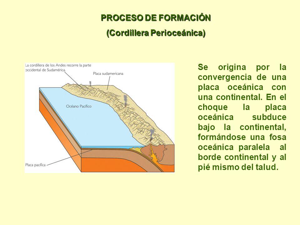 PROCESO DE FORMACIÓN (Cordillera Perioceánica) Se origina por la convergencia de una placa oceánica con una continental.