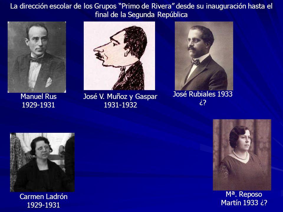 La dirección escolar de los Grupos Primo de Rivera desde su inauguración hasta el final de la Segunda República Manuel Rus 1929-1931 José Rubiales 193