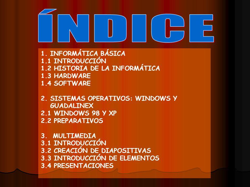 1.INFORMÁTICA BÁSICA 1.1 INTRODUCCIÓN 1.2 HISTORIA DE LA INFORMÁTICA 1.3 HARDWARE 1.4 SOFTWARE 2.SISTEMAS OPERATIVOS: WINDOWS Y GUADALINEX 2.1 WINDOWS 98 Y XP 2.2 PREPARATIVOS 3.