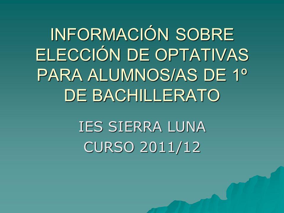 INFORMACIÓN SOBRE ELECCIÓN DE OPTATIVAS PARA ALUMNOS/AS DE 1º DE BACHILLERATO IES SIERRA LUNA CURSO 2011/12