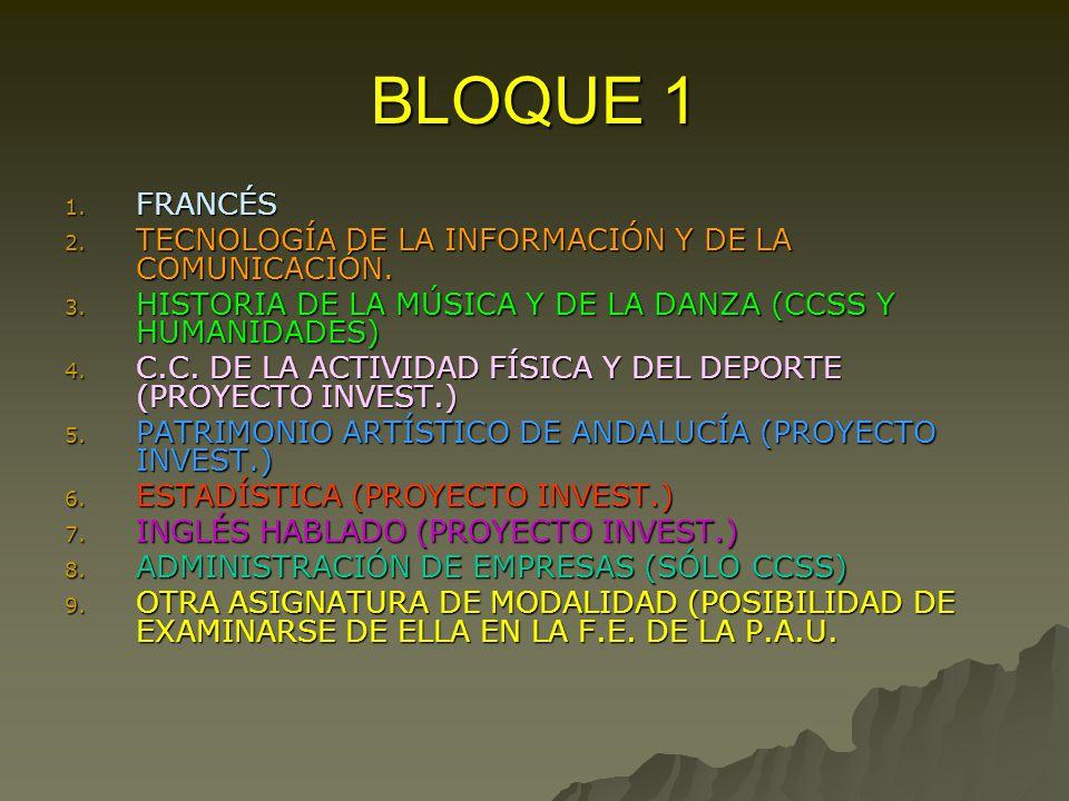 BLOQUE 1 1. FRANCÉS 2. TECNOLOGÍA DE LA INFORMACIÓN Y DE LA COMUNICACIÓN.