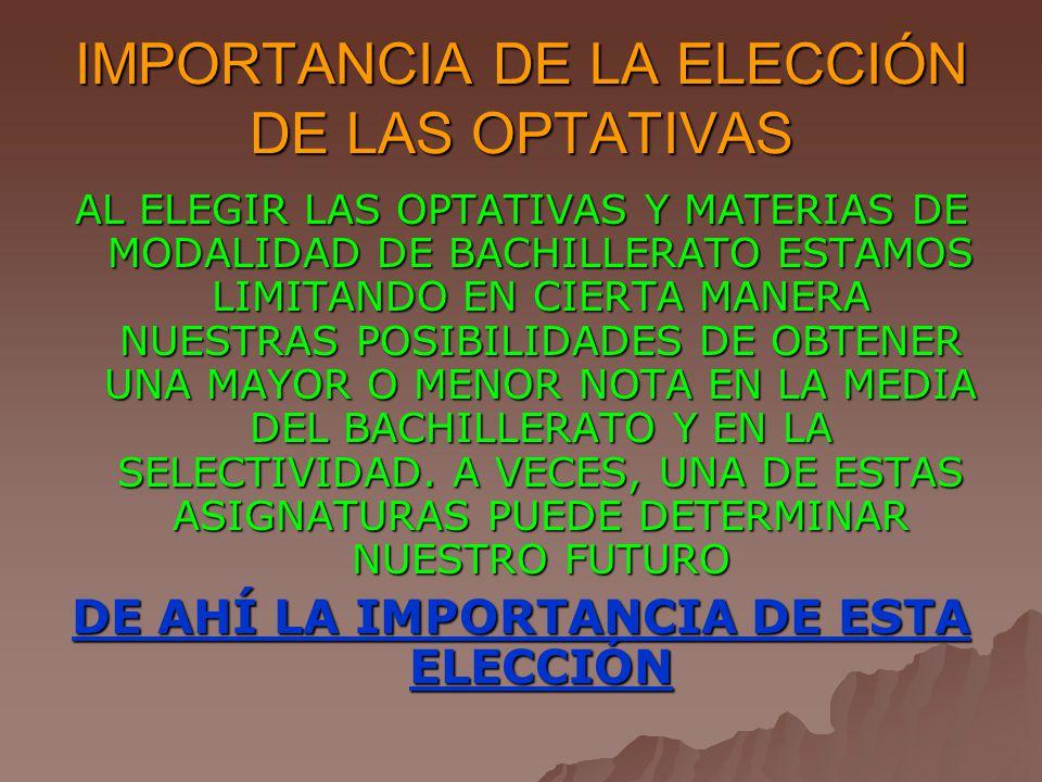 IMPORTANCIA DE LA ELECCIÓN DE LAS OPTATIVAS AL ELEGIR LAS OPTATIVAS Y MATERIAS DE MODALIDAD DE BACHILLERATO ESTAMOS LIMITANDO EN CIERTA MANERA NUESTRAS POSIBILIDADES DE OBTENER UNA MAYOR O MENOR NOTA EN LA MEDIA DEL BACHILLERATO Y EN LA SELECTIVIDAD.