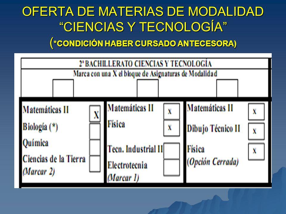 OFERTA DE MATERIAS DE MODALIDAD HUMANIDADES Y C.C. SOCIALES ( *CONDICIÓN HABER CURSADO ANTECESORA)