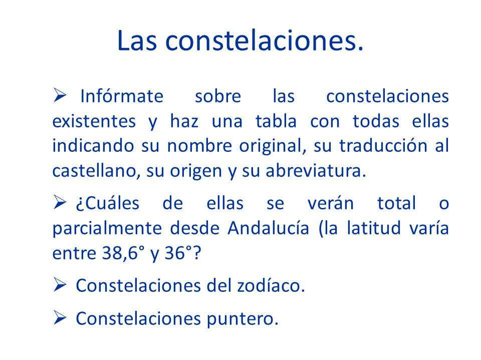 Las constelaciones. Infórmate sobre las constelaciones existentes y haz una tabla con todas ellas indicando su nombre original, su traducción al caste