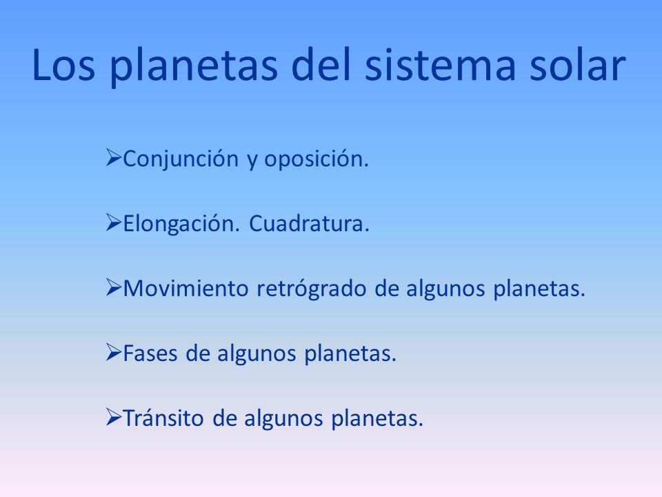 Los planetas del sistema solar Conjunción y oposición. Elongación. Cuadratura. Movimiento retrógrado de algunos planetas. Fases de algunos planetas. T