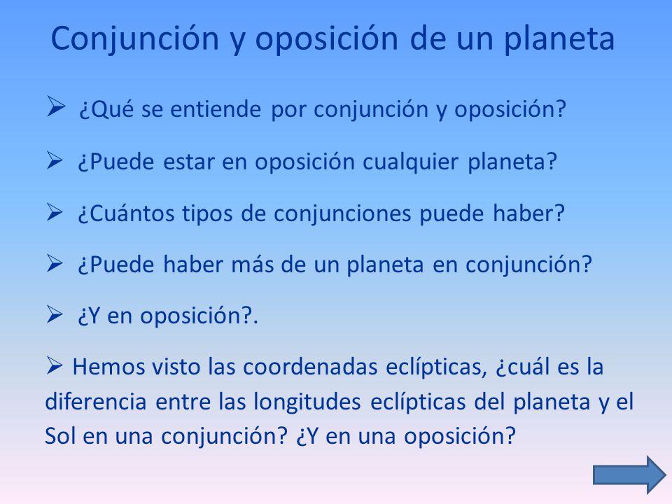 Conjunción y oposición de un planeta ¿Qué se entiende por conjunción y oposición? ¿Puede estar en oposición cualquier planeta? ¿Cuántos tipos de conju