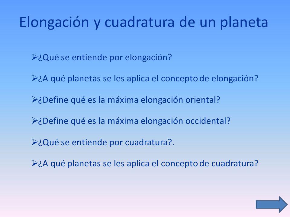 Elongación y cuadratura de un planeta ¿Qué se entiende por elongación? ¿A qué planetas se les aplica el concepto de elongación? ¿Define qué es la máxi