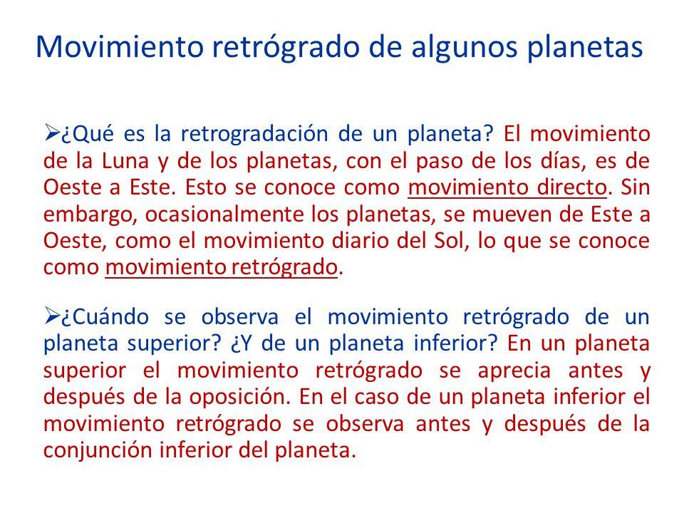 Movimiento retrógrado de algunos planetas ¿Qué es la retrogradación de un planeta? El movimiento de la Luna y de los planetas, con el paso de los días