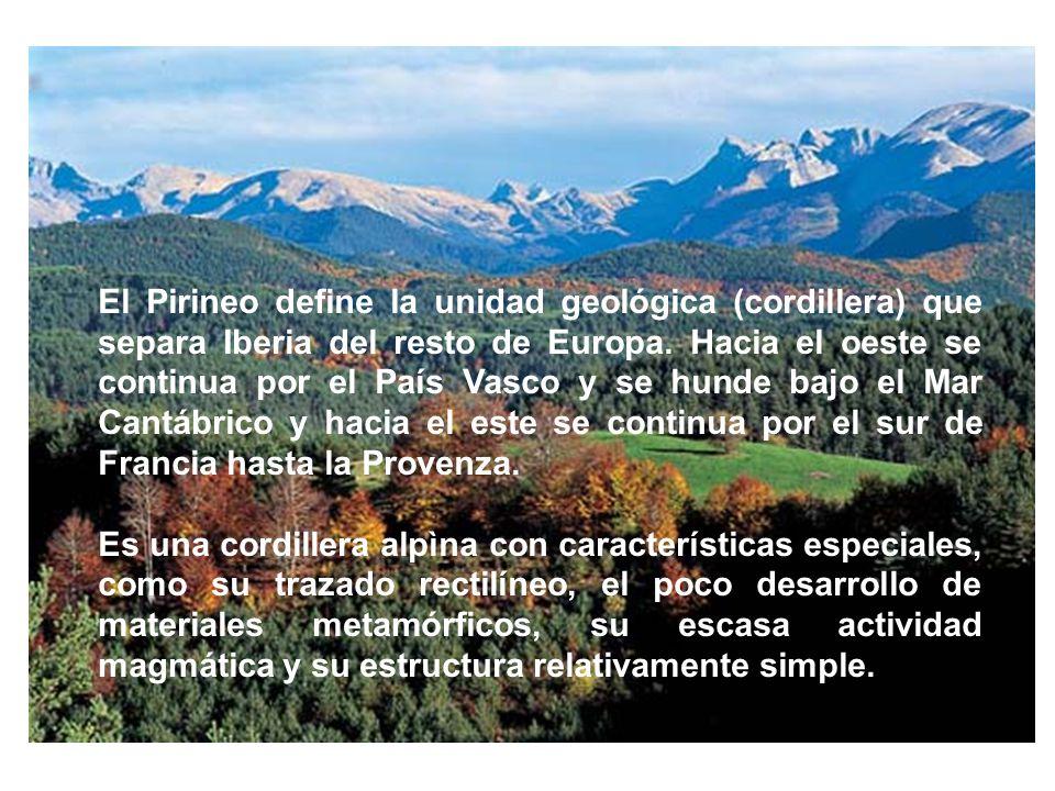 El Pirineo define la unidad geológica (cordillera) que separa Iberia del resto de Europa. Hacia el oeste se continua por el País Vasco y se hunde bajo