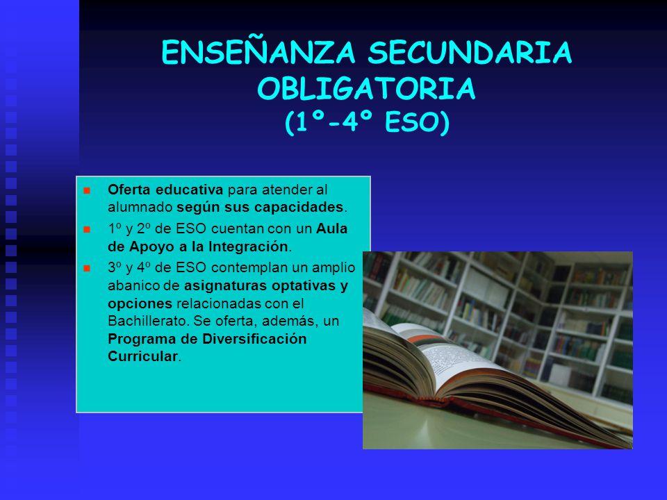 ENSEÑANZA SECUNDARIA OBLIGATORIA (1º-4º ESO) Oferta educativa para atender al alumnado según sus capacidades. 1º y 2º de ESO cuentan con un Aula de Ap