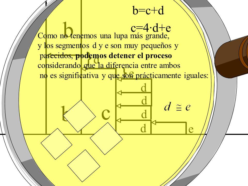 d d e d d d e c b b b=c+d c=4·d+e Como no tenemos una lupa más grande, y los segmentos d y e son muy pequeños y parecidos, podemos detener el proceso
