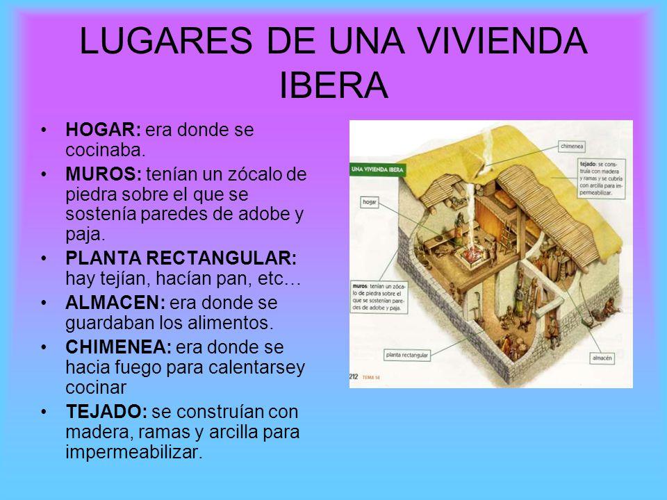 LUGARES DE UNA VIVIENDA IBERA HOGAR: era donde se cocinaba. MUROS: tenían un zócalo de piedra sobre el que se sostenía paredes de adobe y paja. PLANTA