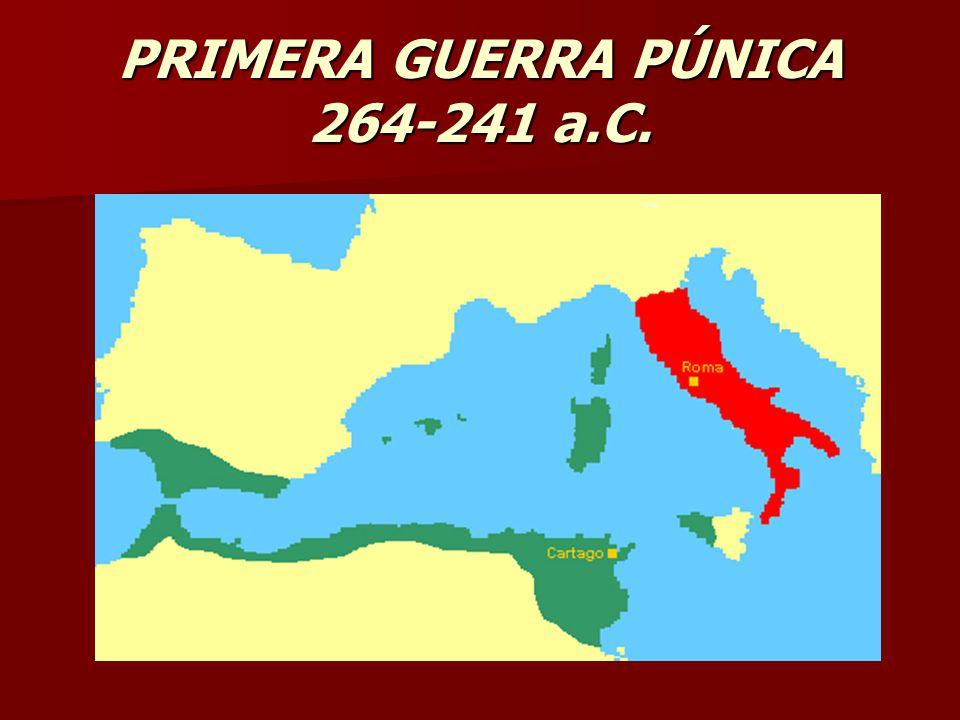 El desencadenante de la primera guerra púnica lo encontramos, en la luchas continuas por la posesión de la isla de Sicilia.