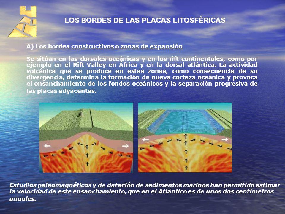 LOS BORDES DE LAS PLACAS LITOSFÉRICAS A) Los bordes constructivos o zonas de expansión Se sitúan en las dorsales oceánicas y en los rift continentales