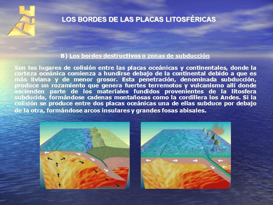 LOS BORDES DE LAS PLACAS LITOSFÉRICAS B) Los bordes destructivos o zonas de subducción Son los lugares de colisión entre las placas oceánicas y contin