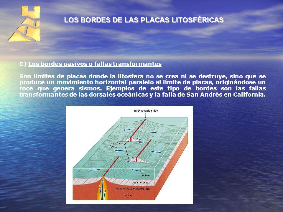 LOS BORDES DE LAS PLACAS LITOSFÉRICAS C) Los bordes pasivos o fallas transformantes Son límites de placas donde la litosfera no se crea ni se destruye